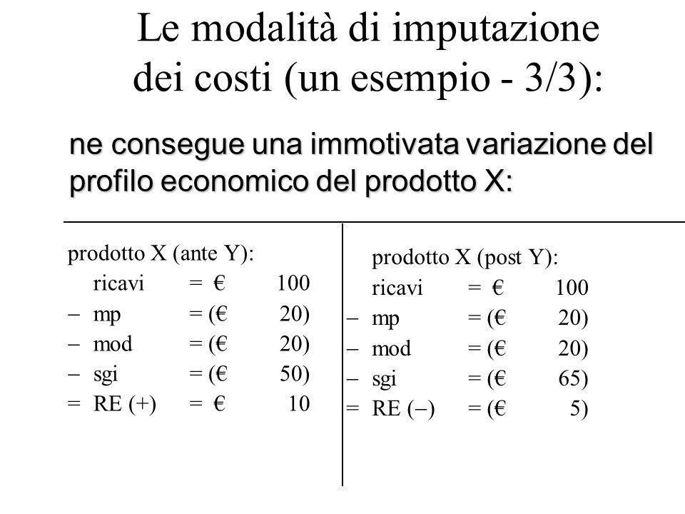 Le modalità di imputazione dei costi (un esempio - 3/3):