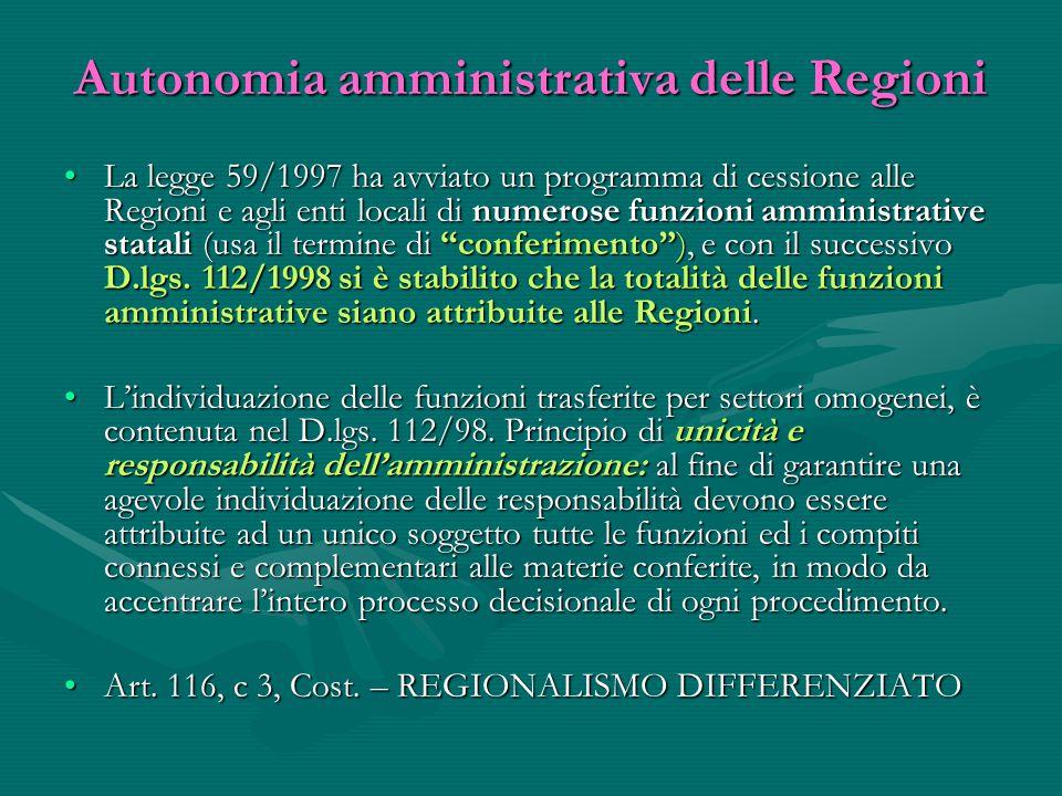 Autonomia amministrativa delle Regioni