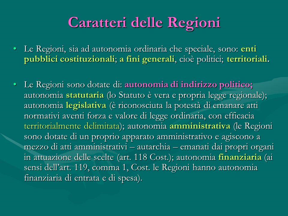 Caratteri delle Regioni