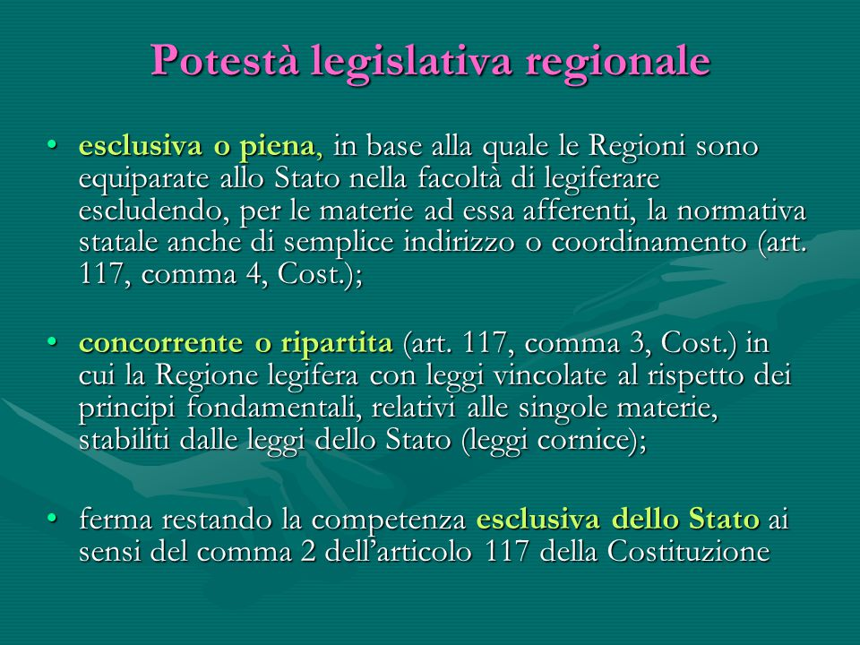 Potestà legislativa regionale
