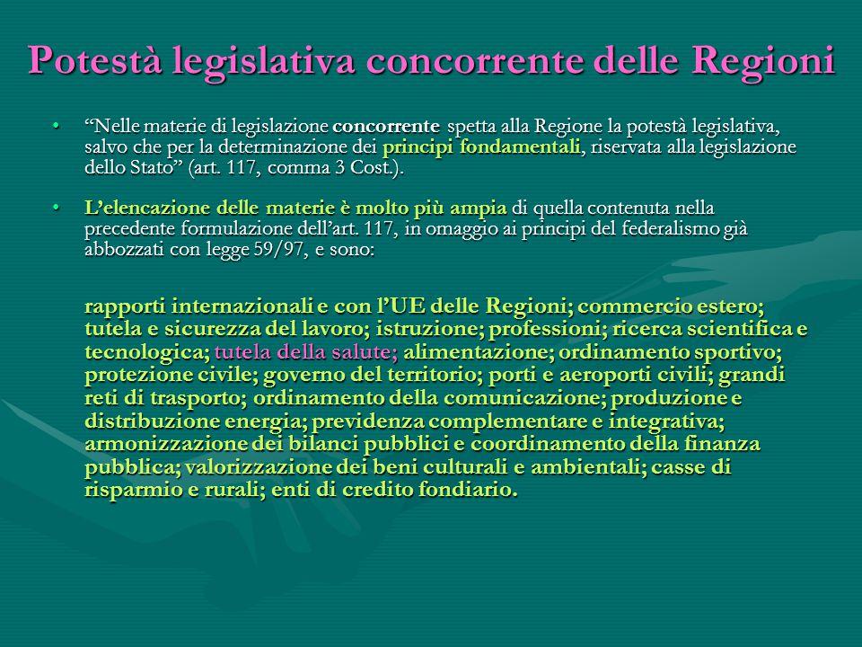 Potestà legislativa concorrente delle Regioni