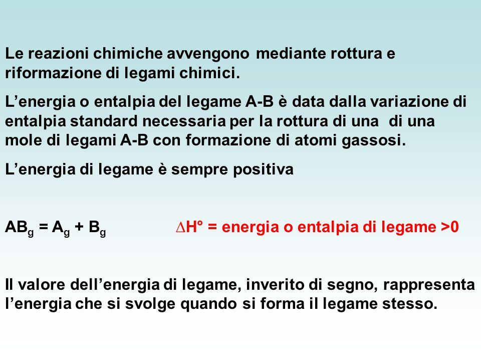 Le reazioni chimiche avvengono mediante rottura e riformazione di legami chimici.