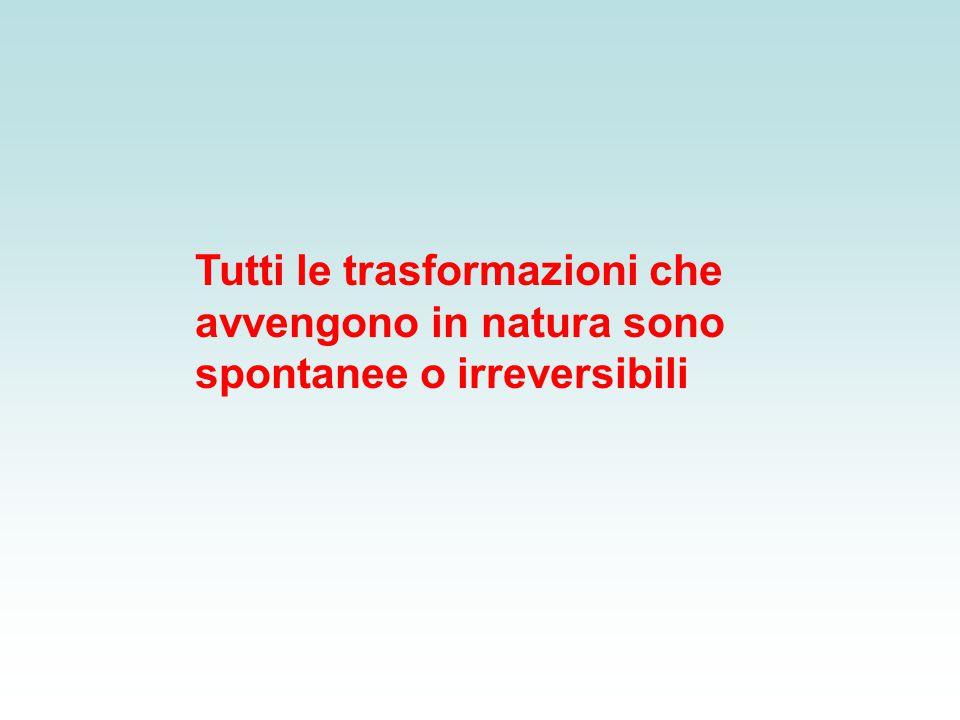 Tutti le trasformazioni che avvengono in natura sono spontanee o irreversibili