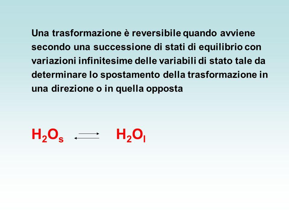 Una trasformazione è reversibile quando avviene secondo una successione di stati di equilibrio con variazioni infinitesime delle variabili di stato tale da determinare lo spostamento della trasformazione in una direzione o in quella opposta