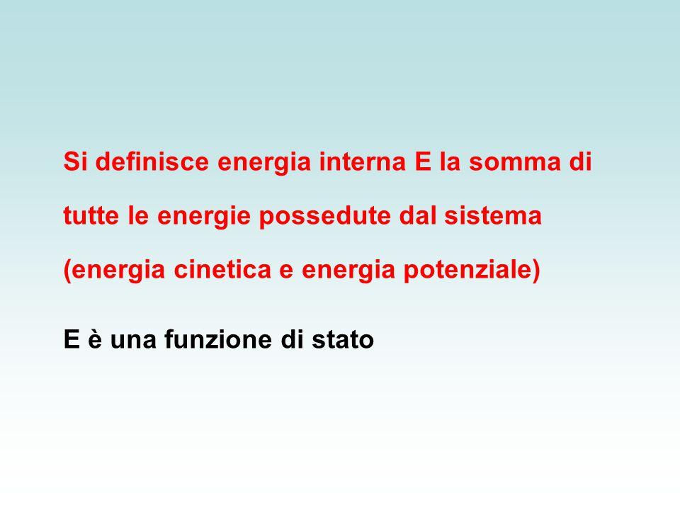 Si definisce energia interna E la somma di tutte le energie possedute dal sistema (energia cinetica e energia potenziale)