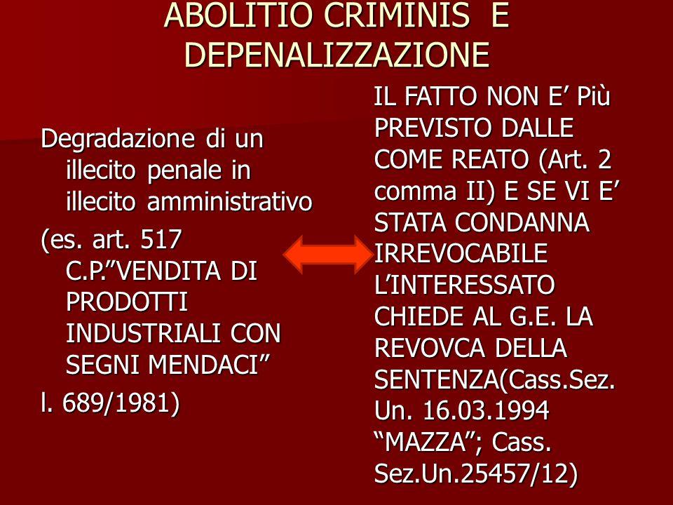 ABOLITIO CRIMINIS E DEPENALIZZAZIONE