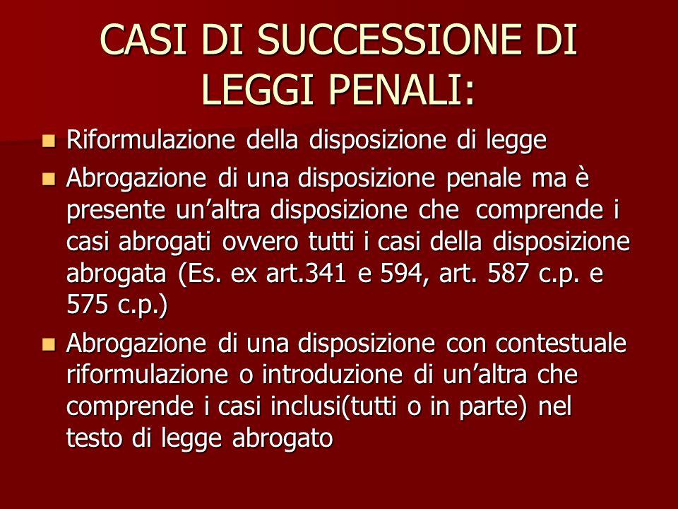 CASI DI SUCCESSIONE DI LEGGI PENALI: