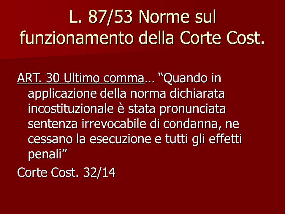 L. 87/53 Norme sul funzionamento della Corte Cost.