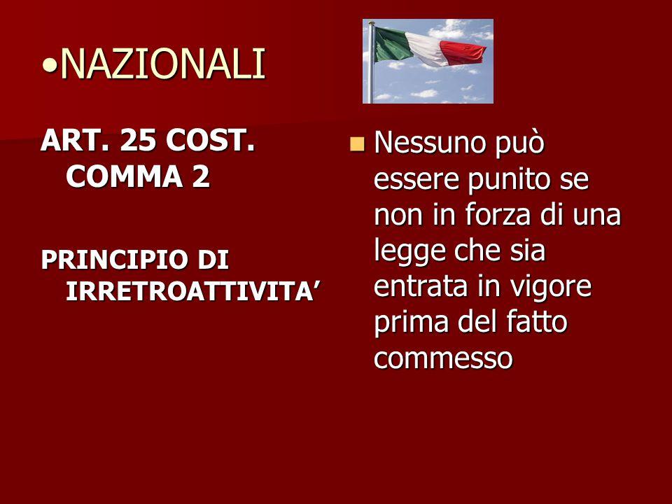NAZIONALI ART. 25 COST. COMMA 2