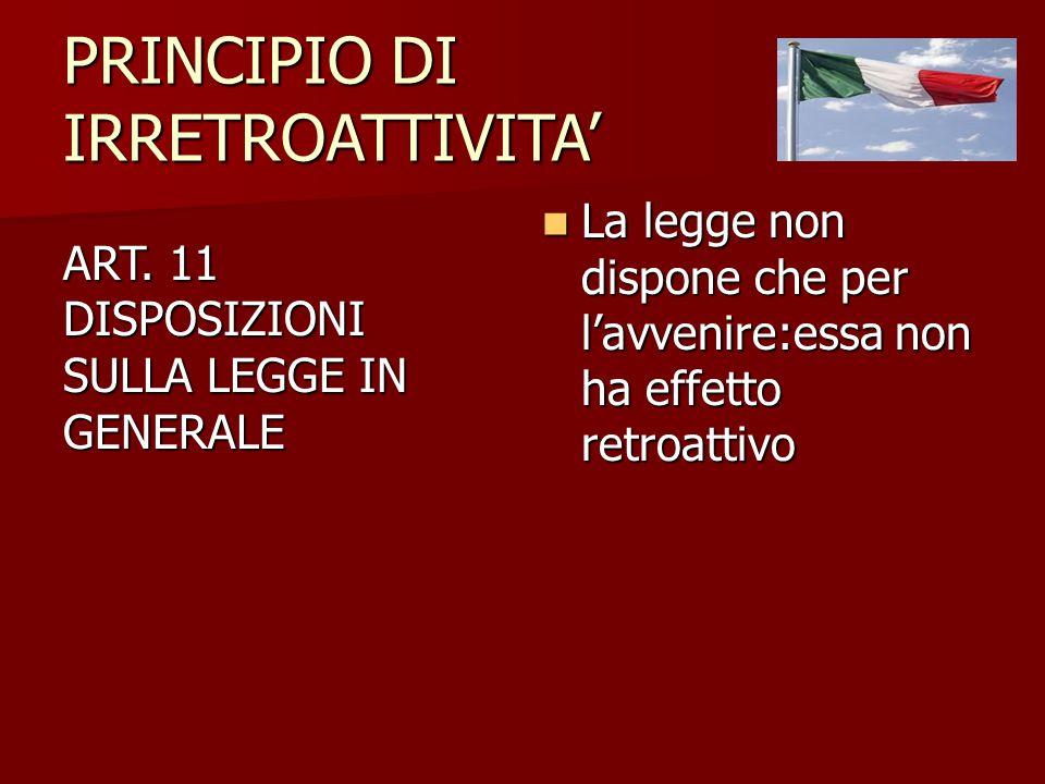 PRINCIPIO DI IRRETROATTIVITA'