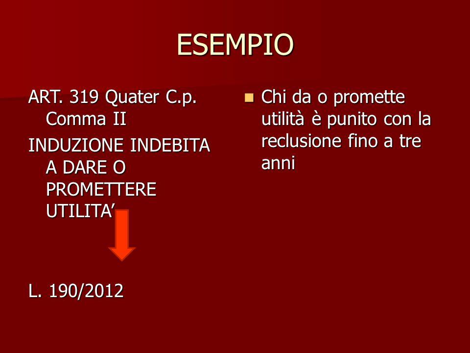 ESEMPIO ART. 319 Quater C.p. Comma II