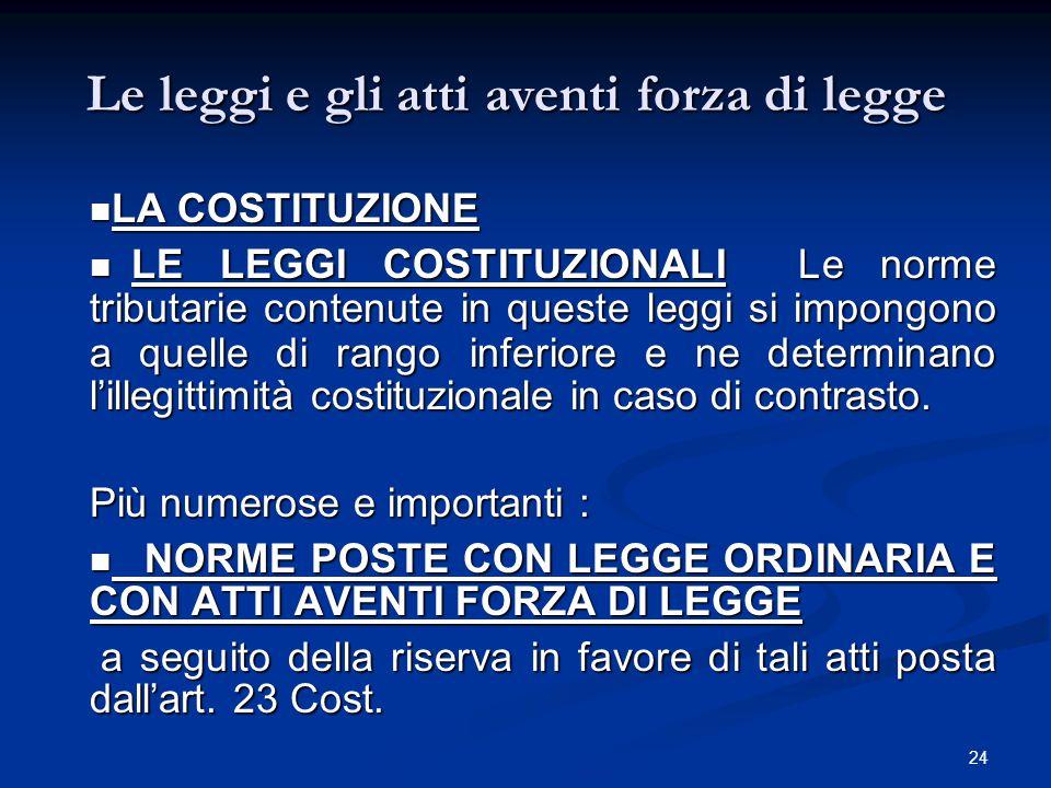 Le leggi e gli atti aventi forza di legge