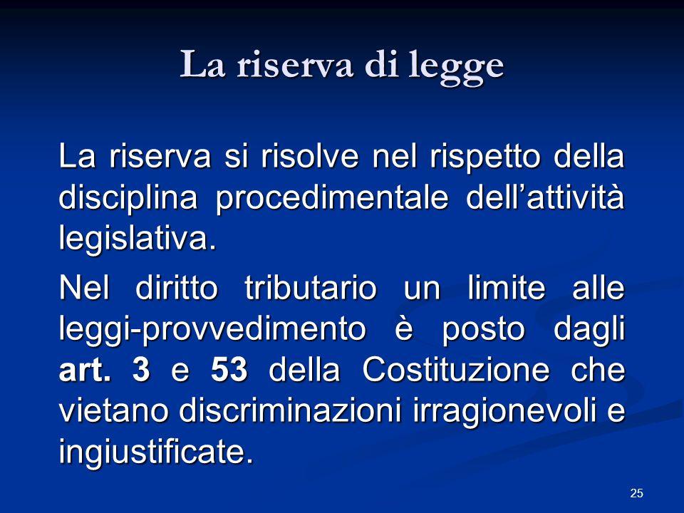 La riserva di legge La riserva si risolve nel rispetto della disciplina procedimentale dell'attività legislativa.