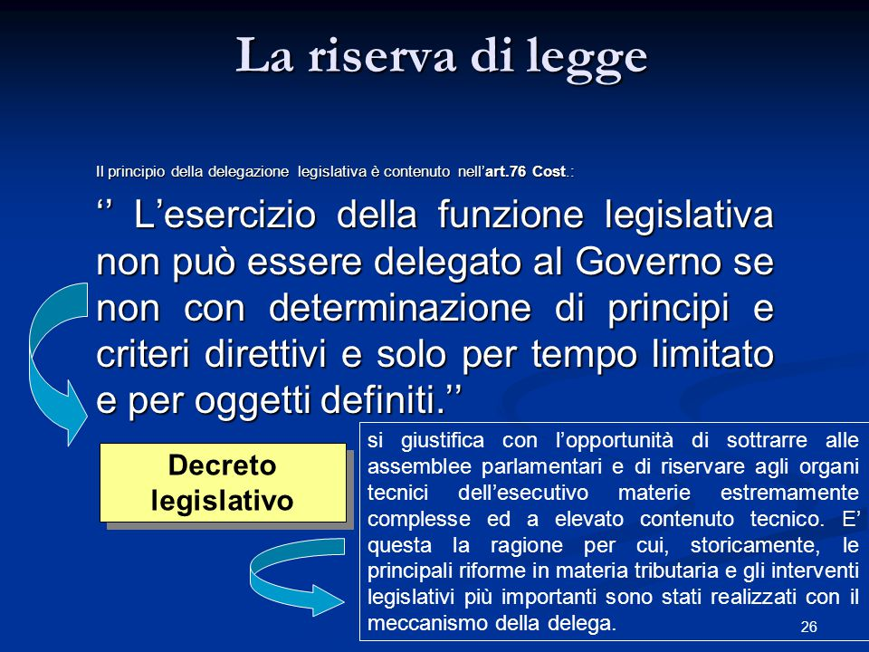 La riserva di legge Il principio della delegazione legislativa è contenuto nell'art.76 Cost.:
