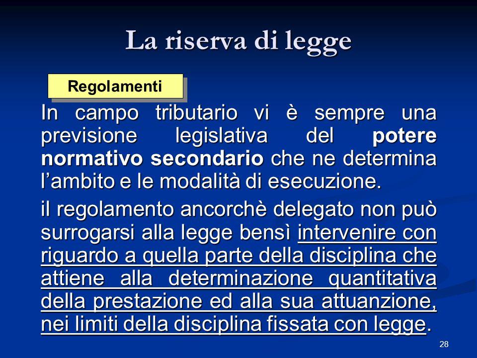 La riserva di legge