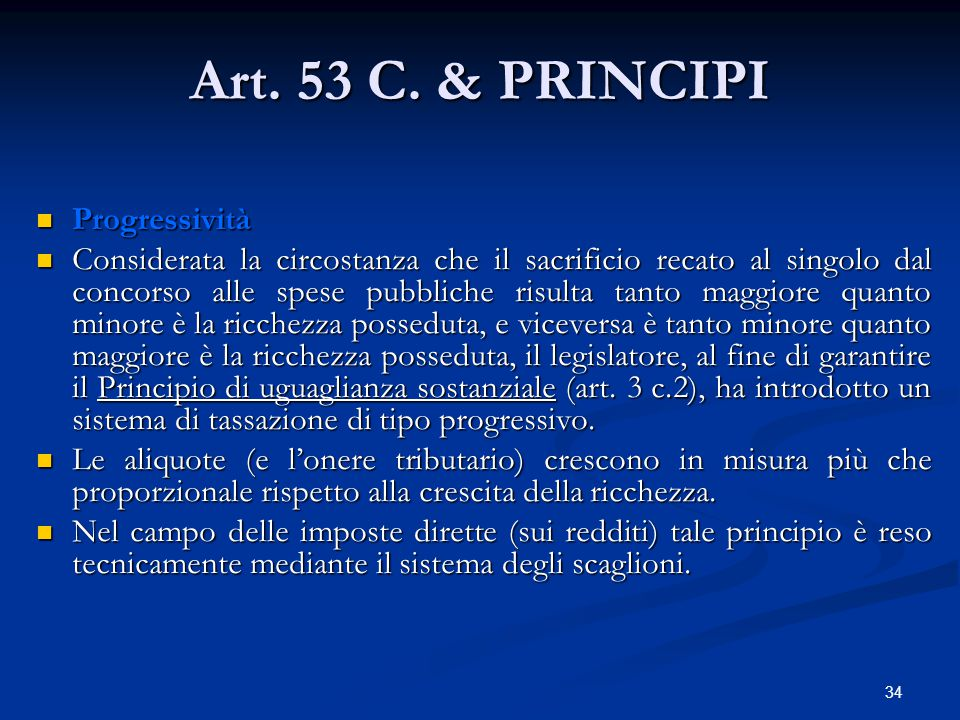 Art. 53 C. & PRINCIPI Progressività