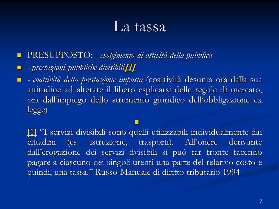 La tassa PRESUPPOSTO: - svolgimento di attività della pubblica