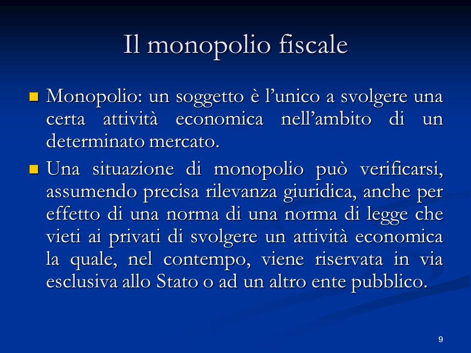 Il monopolio fiscale Monopolio: un soggetto è l'unico a svolgere una certa attività economica nell'ambito di un determinato mercato.