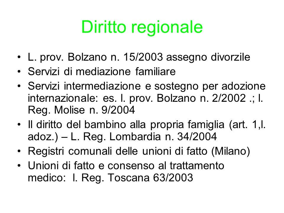 Diritto regionale L. prov. Bolzano n. 15/2003 assegno divorzile
