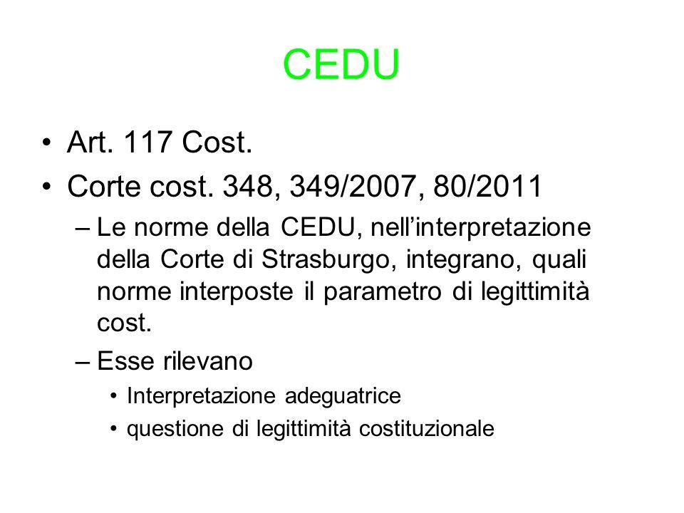 CEDU Art. 117 Cost. Corte cost. 348, 349/2007, 80/2011