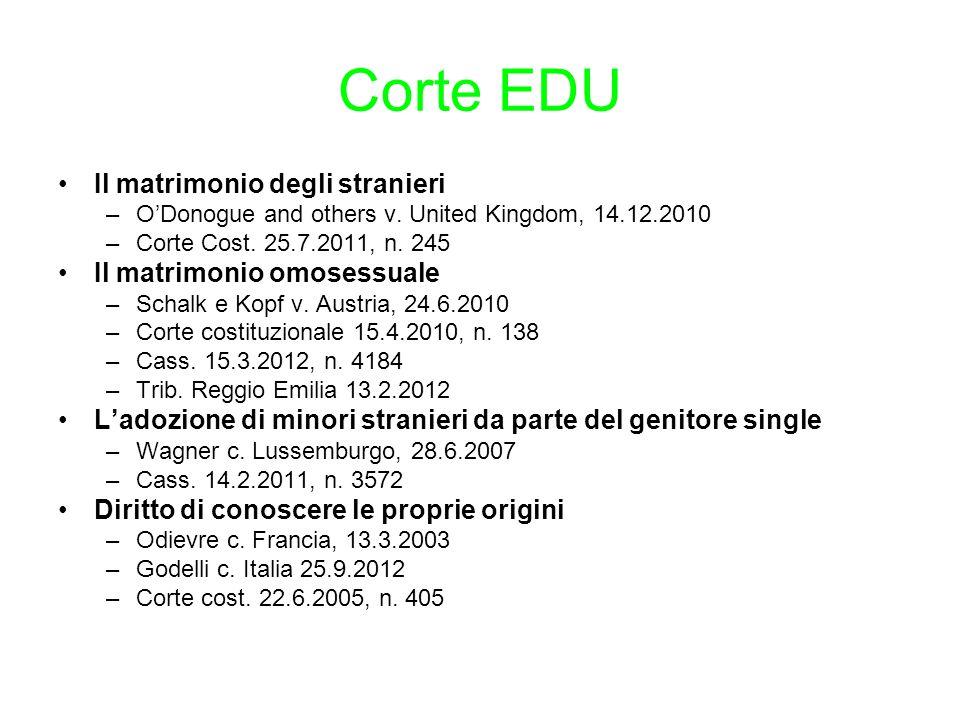Corte EDU Il matrimonio degli stranieri Il matrimonio omosessuale