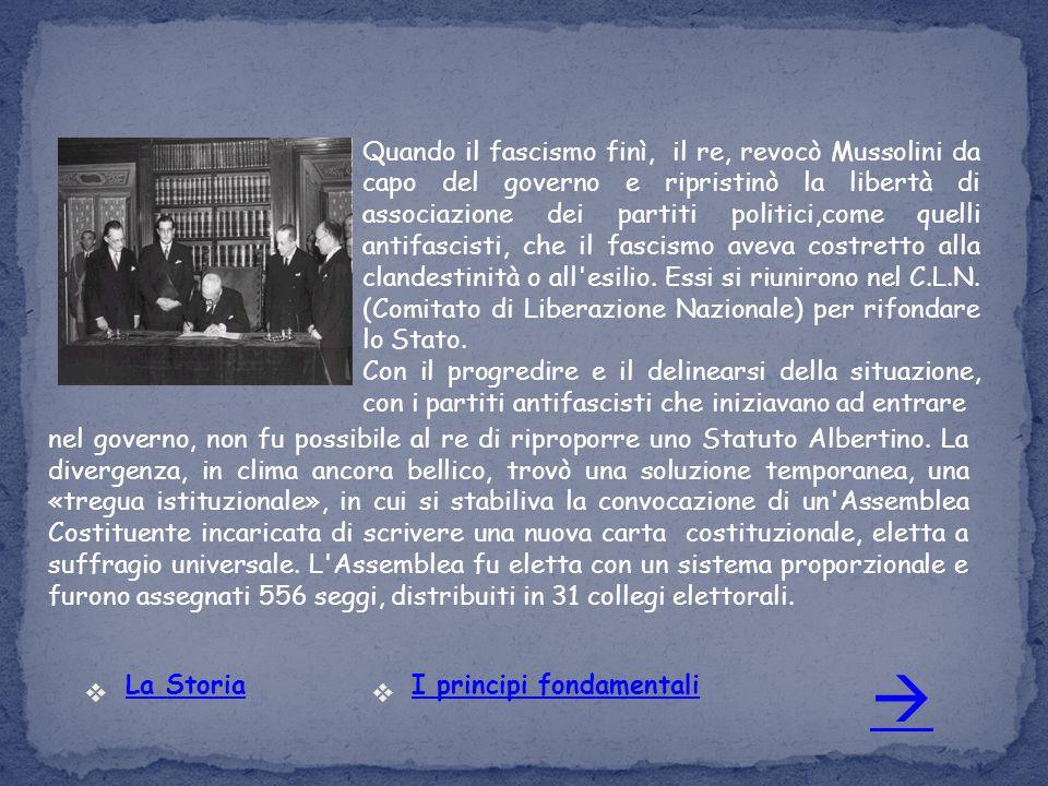 Quando il fascismo finì, il re, revocò Mussolini da capo del governo e ripristinò la libertà di associazione dei partiti politici,come quelli antifascisti, che il fascismo aveva costretto alla clandestinità o all esilio. Essi si riunirono nel C.L.N. (Comitato di Liberazione Nazionale) per rifondare lo Stato.