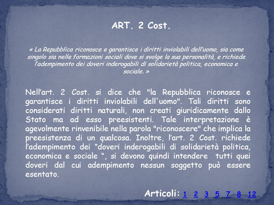ART. 2 Cost.