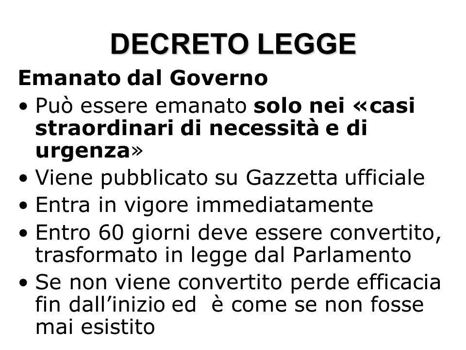 DECRETO LEGGE Emanato dal Governo