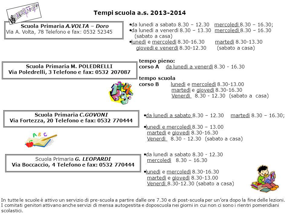 Tempi scuola a.s. 2013-2014 Scuola Primaria A.VOLTA – Doro. Via A. Volta, 78 Telefono e fax: 0532 52345.