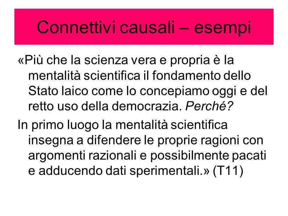 Connettivi causali – esempi