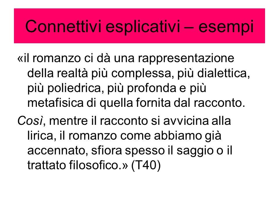 Connettivi esplicativi – esempi