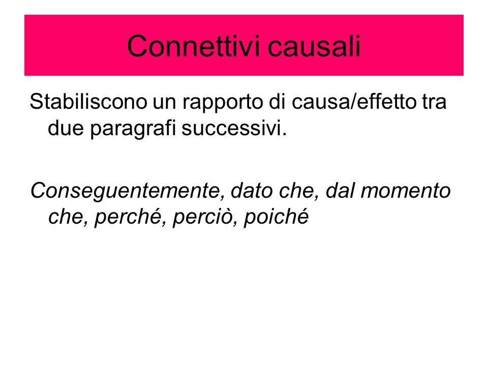 Connettivi causali Stabiliscono un rapporto di causa/effetto tra due paragrafi successivi.