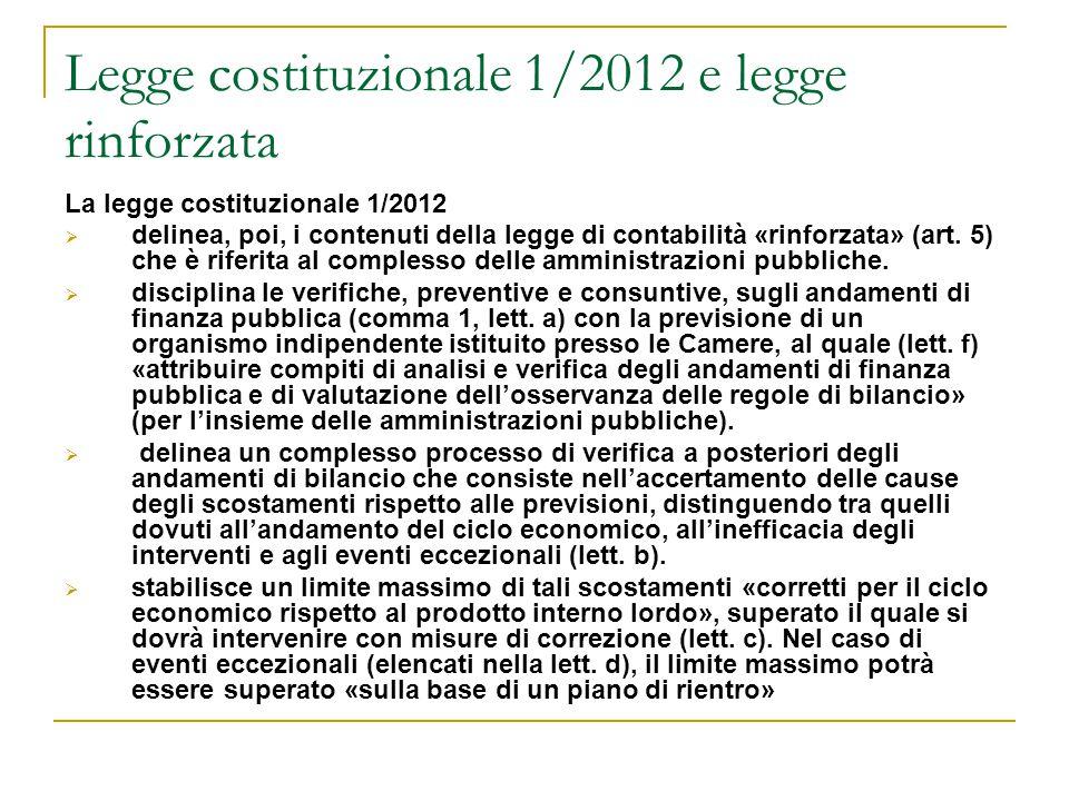 Legge costituzionale 1/2012 e legge rinforzata