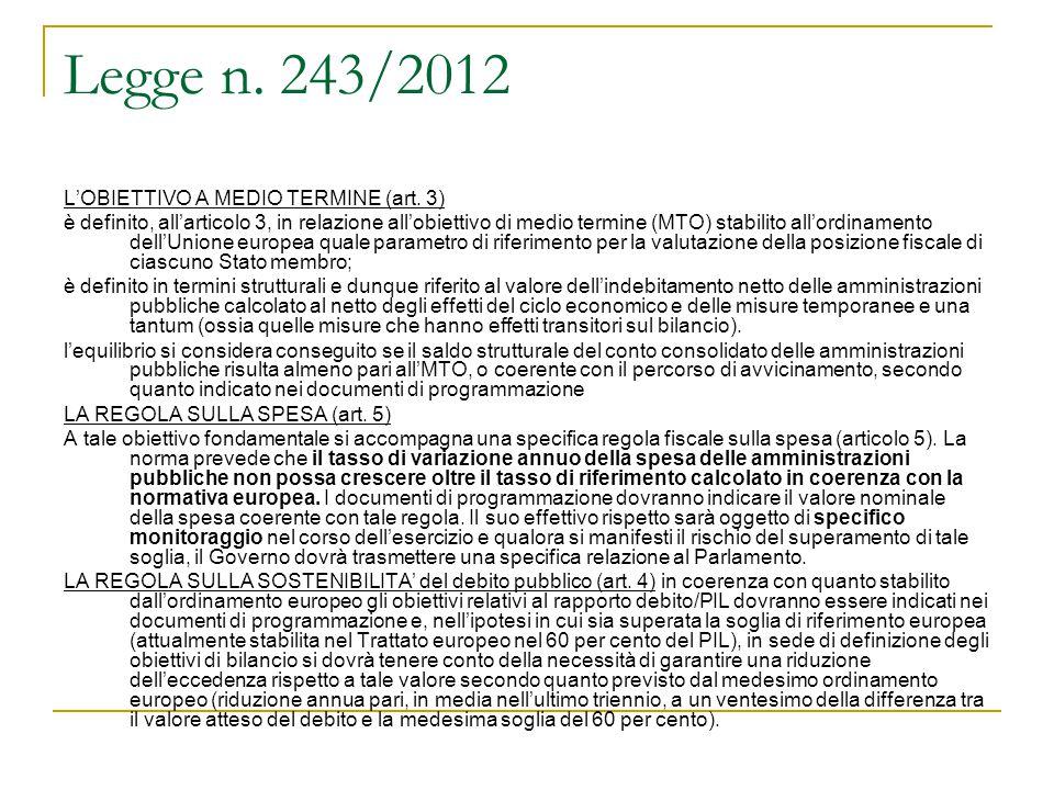 Legge n. 243/2012 L'OBIETTIVO A MEDIO TERMINE (art. 3)