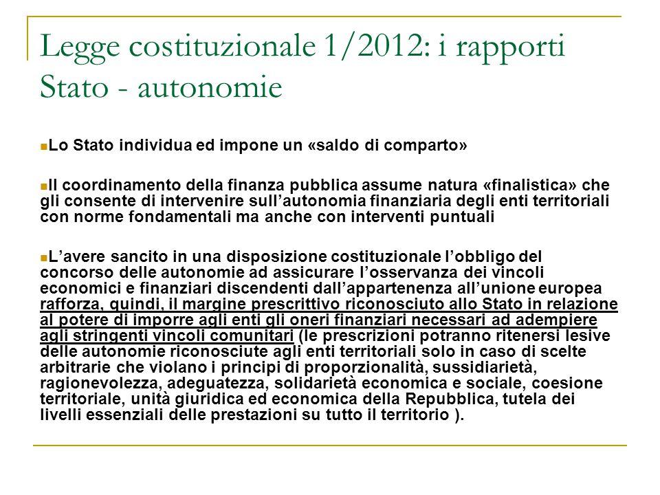 Legge costituzionale 1/2012: i rapporti Stato - autonomie