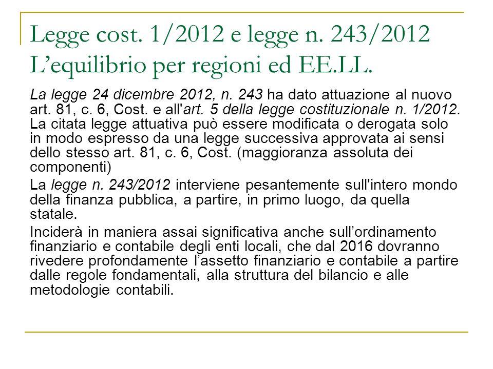 Legge cost. 1/2012 e legge n. 243/2012 L'equilibrio per regioni ed EE