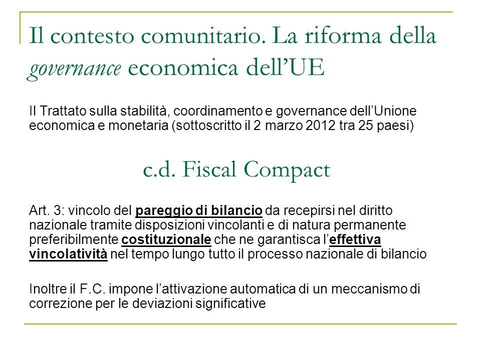 Il contesto comunitario. La riforma della governance economica dell'UE