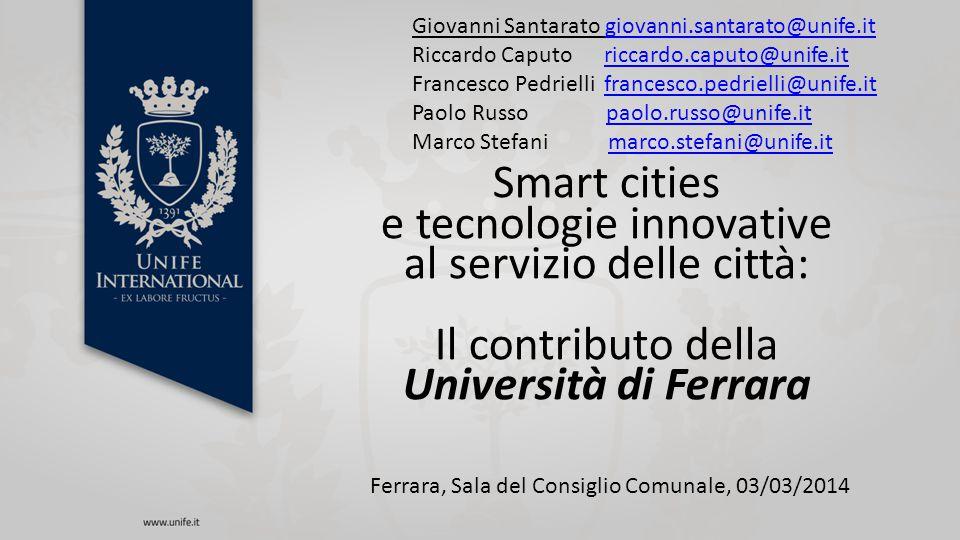 e tecnologie innovative al servizio delle città: Il contributo della