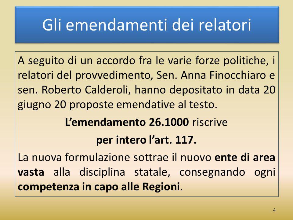 Gli emendamenti dei relatori