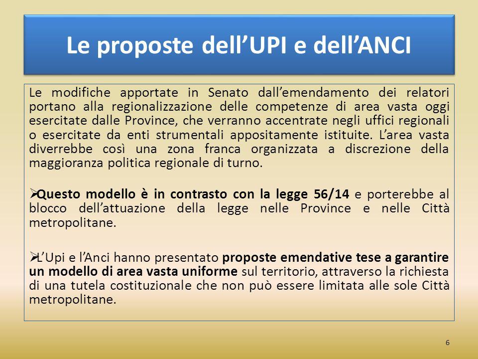 Le proposte dell'UPI e dell'ANCI