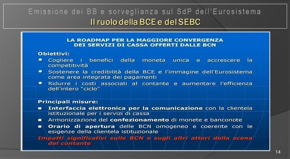 Il ruolo della BCE e del SEBC