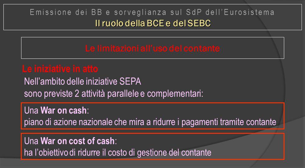 Il ruolo della BCE e del SEBC Le limitazioni all'uso del contante
