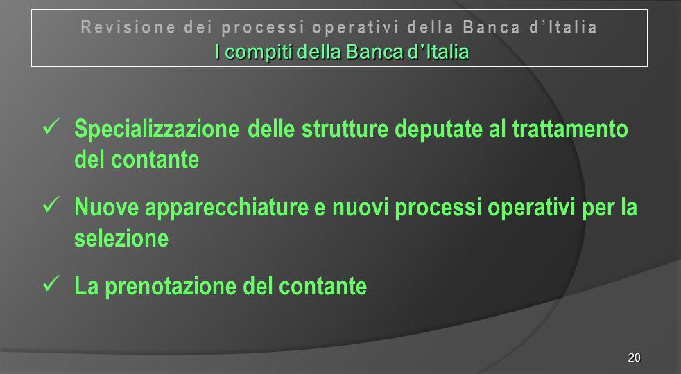 Specializzazione delle strutture deputate al trattamento del contante