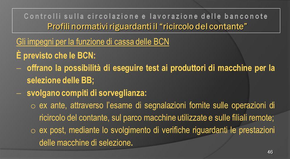 Gli impegni per la funzione di cassa delle BCN È previsto che le BCN: