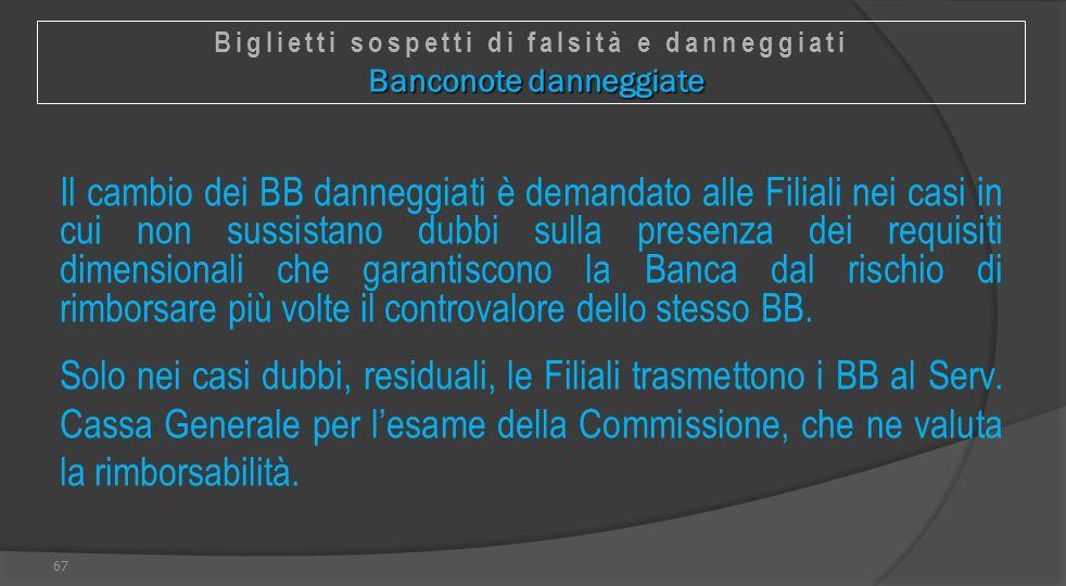 Biglietti sospetti di falsità e danneggiati Banconote danneggiate
