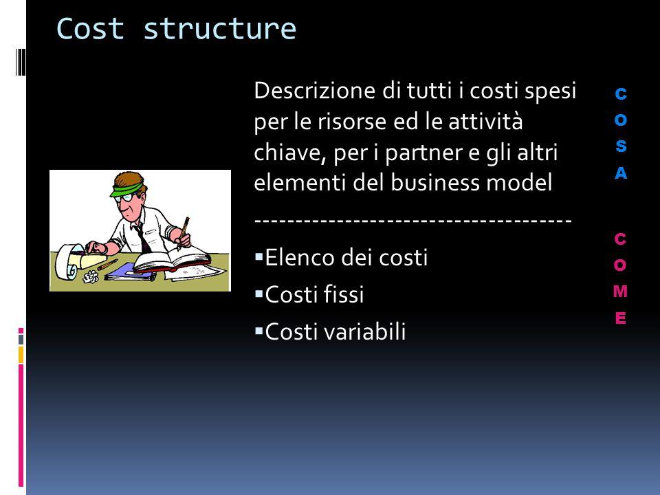 Cost structure Descrizione di tutti i costi spesi per le risorse ed le attività chiave, per i partner e gli altri elementi del business model.