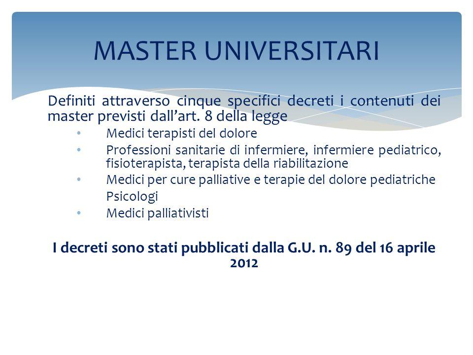 I decreti sono stati pubblicati dalla G.U. n. 89 del 16 aprile 2012