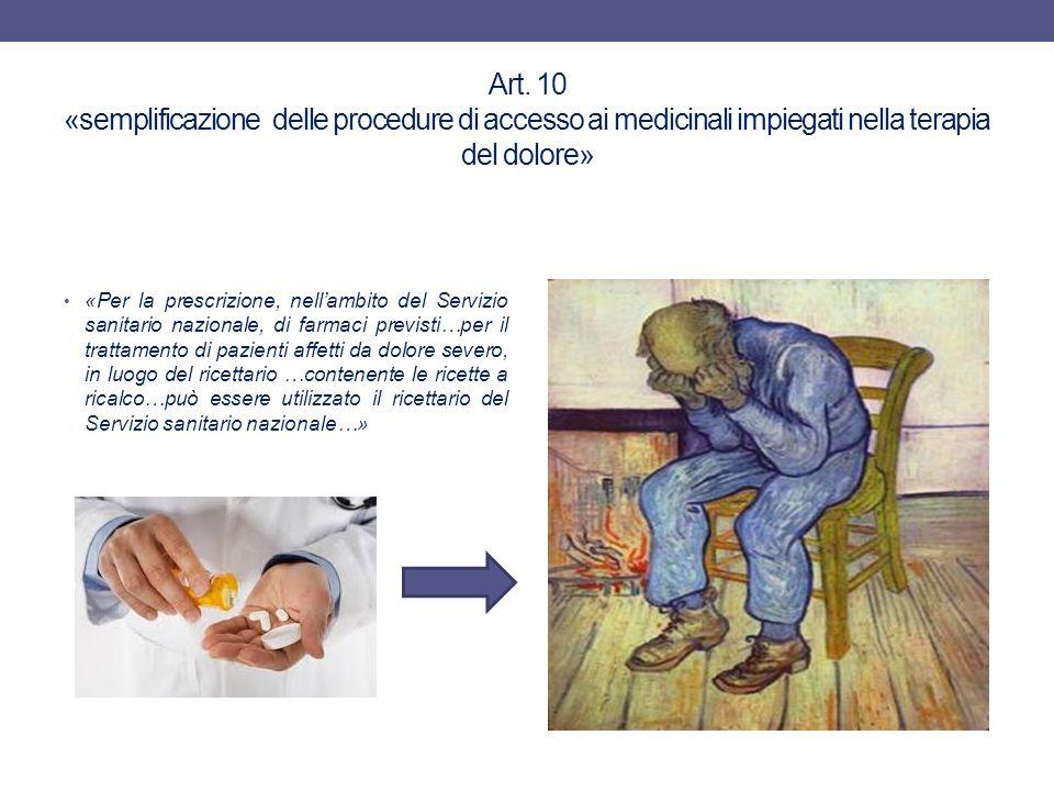 Art. 10 «semplificazione delle procedure di accesso ai medicinali impiegati nella terapia del dolore»