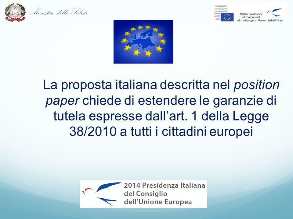 La proposta italiana descritta nel position paper chiede di estendere le garanzie di tutela espresse dall'art.