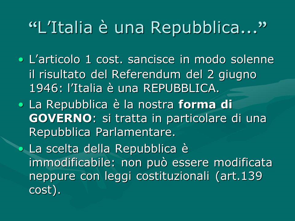 L'Italia è una Repubblica…